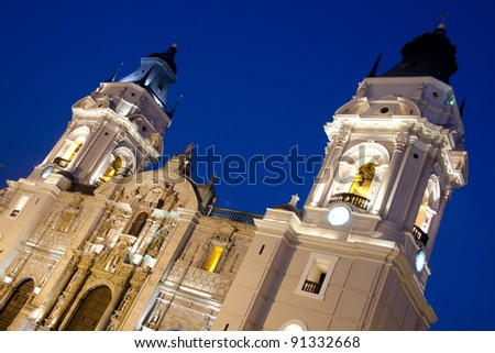 Details of  Cathedral  church on plaza de armas also known as plaza mayor,  Lima peru