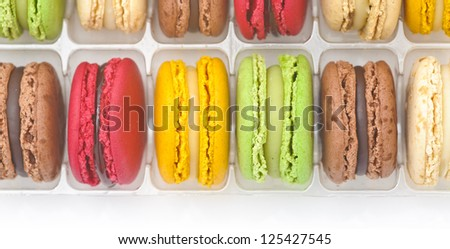 Details of colorful french macaroons