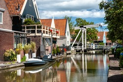 Details of cultural heritage in an old Dutch village (De Rijp) in North Holland. One of the authentic villages in the beemster polder around the city of Alkmaar. Zaanse design houses, facades, region,
