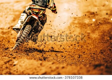 Details of debris in a motocross race