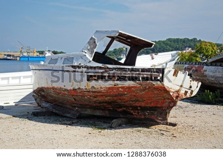 Details of end of summer at Mali Losinj boat's graveyard, Croatia,Europe, 2