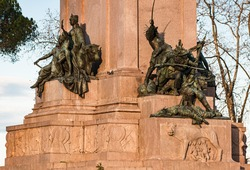Details of Giuseppe Garibaldi Monument at Janiculum Hill in Rome, Italian Heroes