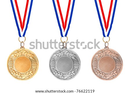 Details of gold, silver and bronze medals on red, white and blue ribbons on white background
