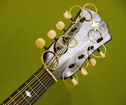 Details of headstock of mandolin with olive background