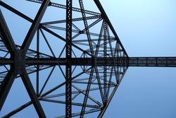 Details of huge steel train bridge in Lethbridge, Alberta, Canada