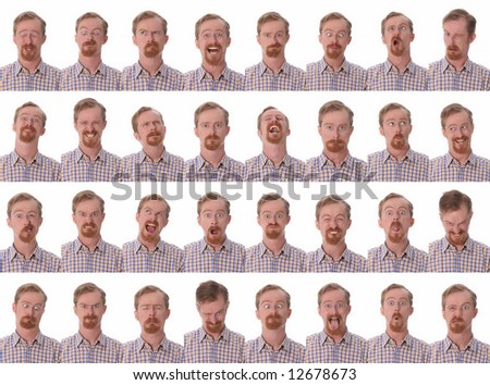 Details of large facial expressions on white background
