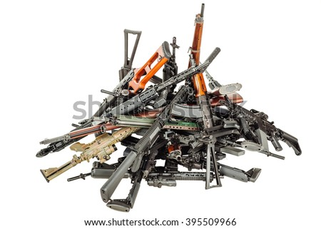 Details of many  confiscated modern rifles supplied smuggled. detained party of illegal weapons. war, army, police, weapon, technology concept - Shutterstock ID 395509966
