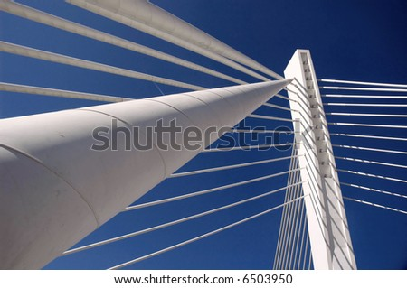 Details of modern bridge vith long holding cables. #6503950