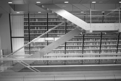 Details of modern public library interior, monochrome