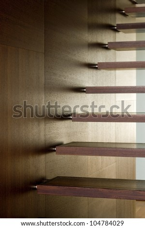 details of modern wooden stairs as a super background