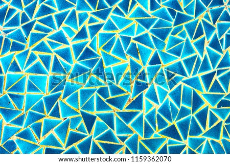 Details of Mosaic Mosaic Mosaic Blue Mosaic is a decorative background, choosing focus, abstract theme.  #1159362070