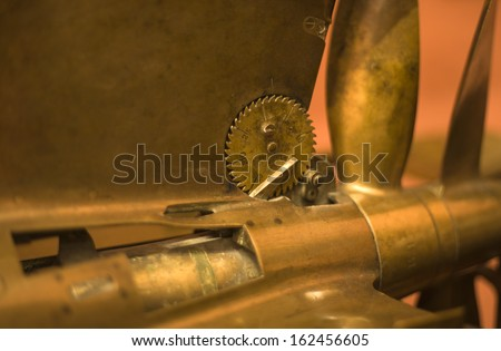 Details of old metal torpedo propeller and fuse