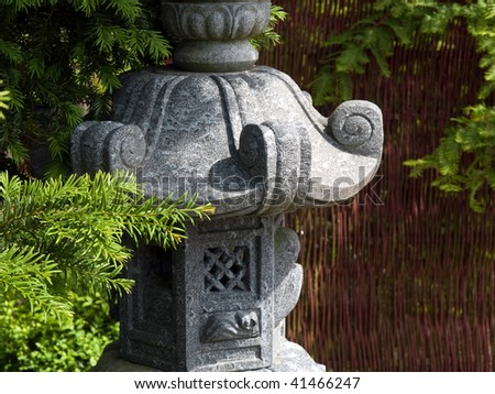 Details of Pagoda statue in a Japanese garden
