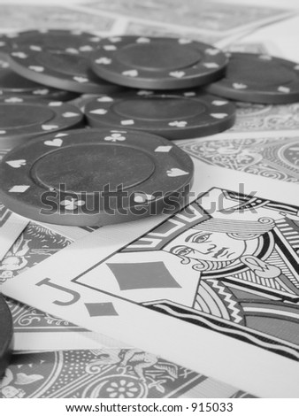 details of poker chips and deck of cards