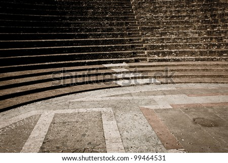 Details of Roman amphitheatre placed in Lyon - stock photo