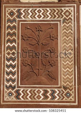 Details of sandstone carving at Taj Mahal, Agra, Uttar Pradesh, India