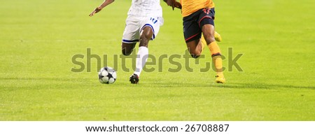 details of soccer match with two players in action