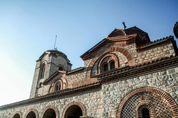 Details of the byzantine architecture of the ancient church of Sveti Jovan Kaneo on the ohrid lake, in North Macedonia. It is a major landmark of the Ohridsko jezero and christianism.
