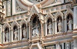 Details of the exterior of the Cattedrale di Santa Maria del Fiore (Cathedral of Saint Mary of the Flower) is the main church of Florence, Italy. Il Duomo di Firenze, as it is ordinarily called.