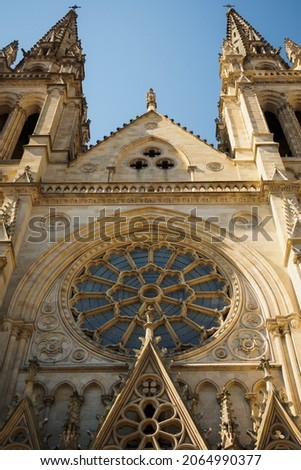Details of the facade of the Saint Louis des Chartrons Catholic Church in Bordeaux, France
