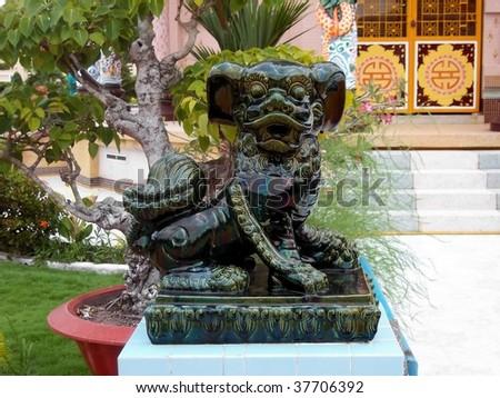 Details of the famous multi denominational religion cao dai temple Vietnam Saigon