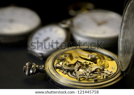 details of the mechanism inside an old watch