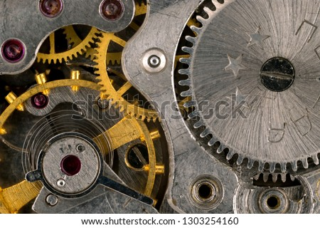 Details of the mechanism of a mechanical clock. Macro shooting