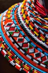 Details of the ornamentation of the Samburu people in the Samburu National Park in Kenya, Africa