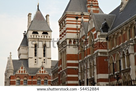 Details of the Royal Courts of Justice, London, England