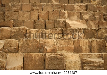 Details of the Stone Blocks of the Great Pyramid at Giza, Cairo, Egypt.