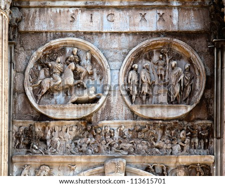 Details of the Triumphal Arch of Constantine, dedicated in AD 315 to celebrate Constantine'??s victory three years before over his co-emperor, Maxentius.