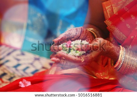 Details of traditional indian wedding ceremony traditions and rituals with lights. #1016516881