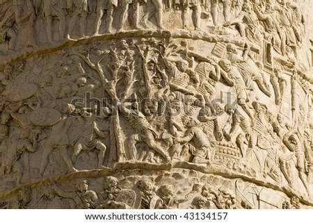 Details of Trajan's column commemorating conquest of Dacia - Rome, Italy