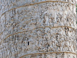 Details of Trajan's Column. It is a Roman triumphal column in Rome, Italy, that commemorates Roman emperor Trajan's victory in the Dacian Wars