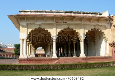 Details of wall sculpture inside Fort Agra monument in Northern India - stock photo