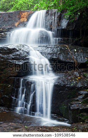 Details of waterfall in tropical forest