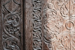 Details of wood carvings with floral motifs at the old mosque of Masjid Besar Mataram