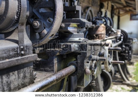 Details on an old lathe engine in Cernat village, Transylvania, Romania. Old machines, old utensils. Hdr image.
