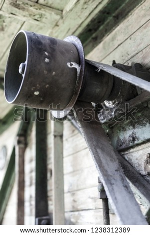 Details on an old tersher  engine in Cernat village, Transylvania, Romania. Old machines, old utensils. Hdr image.