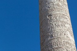 Details on the Roman triumphal column that commemorates Roman emperor Trajan victory in the Dacian Wars