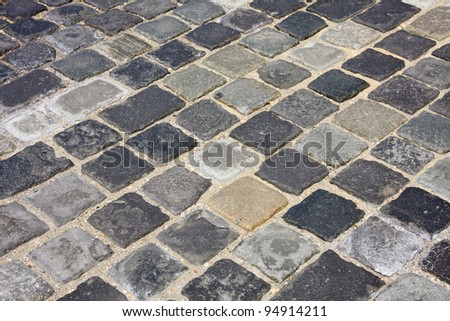 details shot of street paved with cobblestone ?t Buda castle in  Budapest, Hungary