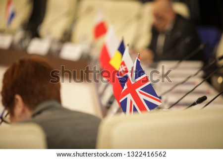 Details with the flag of the United Kingdom during a conference of European Union officials #1322416562