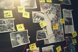 Detective board with crime scenes, photos of suspects and victims, evidence with red threads, vintage toned