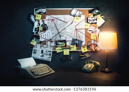 Detective board with evidence, crime scene photos and map. high contrast image