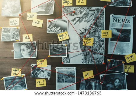 Detective board with photos of suspected criminals, crime scenes and evidence with red threads, retro toned #1473136763