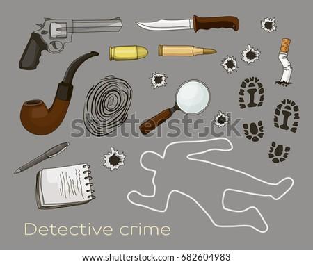 detective crime icons set.