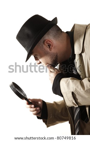 Detective investigate with magnifying glass