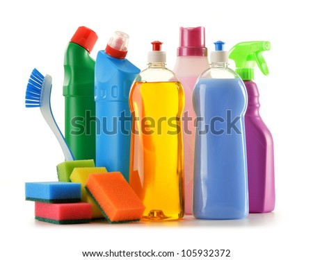 Detergent bottles isolated on white. Chemical cleaning supplies