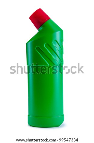Detergent green bottle. Cleaning products. Isolated on white background
