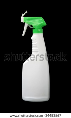 detergent plastic spray bottle isolated on black with clipping path
